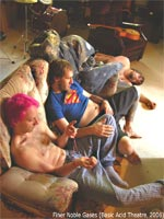 From left: Chase (Patrick Pilarski), Staples (Shane Turgeon), and Speed (Joel Bazin) in their apartment.